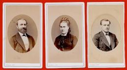 PHOTO Photographie CDV (LOT De 3) Portraits En Médaillon - PERSUS Photographe 75006 PARIS - Antiche (ante 1900)
