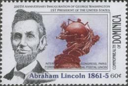 Abraham Lincoln, American President, Universal Postal Congress, Paris, Forerunner Of UPU, MNH Dominica - Dominica (1978-...)