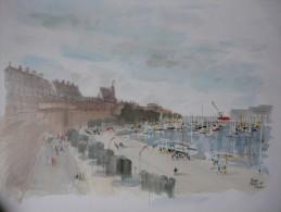 Image D´une Aquarelle De Pierre Pages  Port De Saint Malo 82 - Other Collections