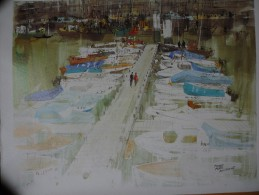Image D´une Aquarelle De Pierre Pages  Port De Boulogne Sur Mer 68 - Other Collections