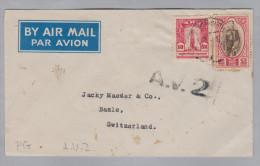 Thailand Siam Bangkok A.V.2. Luftpost Brief Nach Basel - Thaïlande
