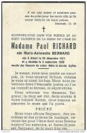 ATTERT ..-- Mme Marie BERNARD , épouse De Mr Paul RICHARD , Née En 1911 , Décédée En 1956 . - Attert