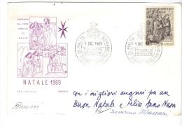 VER3173 - SMOM , Cartoncino Augurale Del Natale 1969 - Sovrano Militare Ordine Di Malta