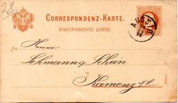 Sudetenland: Österr. Gzs-Postkarte P26a, 2Kr. Rotbraun (Böhm),  Gel. 28.12.76 AUSSIG Nach Kamenz/Sachs. - 1850-1918 Empire