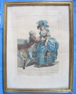 Belle Gravure De Mode Rehaussée, Par Dupin Jeune / époque Fin XVIIIè  / Vers 1780 - Gravures