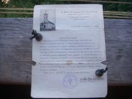 Certificat  Romania  Minnesota  1939 - Religion &  Esoterik