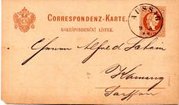 Sudetenland: Österr. Gzs-Postkarte P26b (2 Akzente), 2Kr. Rotbraun (Böhm),  Gel. 17.2.78 AUSSIG Nach Kamenz/Sachs. - 1850-1918 Empire