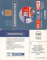 ARGENTINA - Emergency Phone Numbers, Telecom Argentina Telecard, Chip GEM1, CN : G49, 09/94, Used - Argentinien