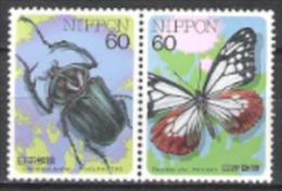 Japan Nippon 1987 Tiere Animals Fauna Insekten Insects Schmetterlinge Butterflies Käfer Beetles, Mi. 1714-5 ** - 1926-89 Kaiser Hirohito (Showa Era)
