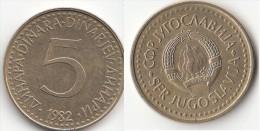 Yugoslavia 5 Dinari 1982 Km#88 - Used - Yugoslavia