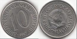 Yugoslavia 10 Dinari 1987 KM#89- Used - Jugoslavia