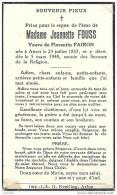 ATTERT ..-- Mme Jeannette FOUSS , Veuve De Mr Florentin FAIRON , Née En 1857 , Décédée En 1948 . - Attert