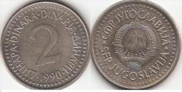 Yugoslavia 2 Dinari 1990 KM#143 - Used - Jugoslavia
