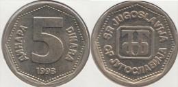 Yugoslavia 5 Dinari 1993 Km#156 - Used - Jugoslavia