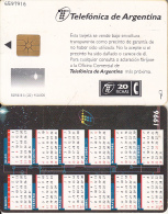 ARGENTINA - Calendar 1996, Telefonica Telecard(B 05), Chip GEM1a, 12/95, Used - Argentinien