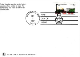 #2365 Early Locomotives 22-cent Issue, 'Brother Jonathan 1832' Railroad Engine, 1987 FDC Cover Maxicard - 1981-1990