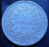 5 FRANCS HERCULE ARGENT 1849 A 2EME RÉPUBLIQUE  A VOIR ! - J. 5 Francs