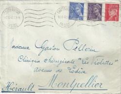 3272 CHATEAUROUX Indre Lettre Mercure 10 C Bleu 40 C Violet Pétain 1 F Rouge Ob 10 1 1942 Yv 107 413 514 - 1921-1960: Periodo Moderno