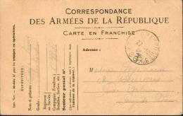 Correspondance Des Armées De La République - Modéle A1 - Carte En Franchise - Oblitération Trésor Et Postes - Marcophilie (Lettres)