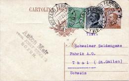ITALIEN 1926 - 40 C Ganzsache + 5+30 Centisimo Zusatzfrankierung Auf Pk Gel.v.Bolzano N.Thal Schweiz - Ganzsachen