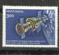 INDIA,1984 ,INDIAN -RUSSIAN SPACE COOPERATION, Flight, Indo Soviet Joint Issue, MNH, (**) - Spazio