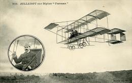 Aviation Henri Jullerot Sur Biplan Farman Vieille Tige Carte Postale Ancienne 1910