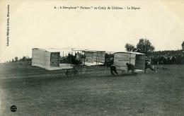 Aviation Henry Farman Biplan Au Camp De Chalons Le Depart Carte Postale Ancienne 1908 - ....-1914: Precursors