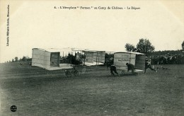Aviation Henry Farman Biplan Au Camp De Chalons Le Depart Carte Postale Ancienne 1908