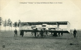 Aviation Henry Farman Biplan Au Camp De Chalons Carte Postale Ancienne 1908