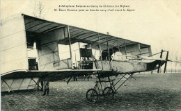 Aviation Henry Farman Biplan Au Camp De Chalons Carte Postale Ancienne 1908 - ....-1914: Precursors