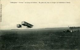 Aviation Henry Farman Biplan Au Camp De Chalons En Plein Vol Carte Postale Ancienne 1908 - ....-1914: Precursors
