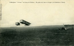 Aviation Henry Farman Biplan Au Camp De Chalons En Plein Vol Carte Postale Ancienne 1908