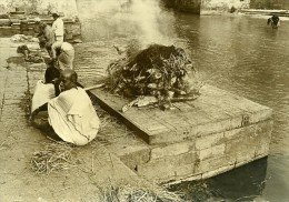 Inde Scène De La Vie Quotidienne Cremation Rituel Ancienne Photo 1960 - Non Classés
