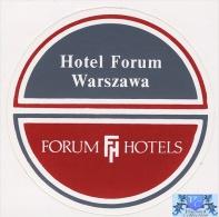 voyo FORUM HOTEL  Warszawa Warsaw Poland Hotel label  Sticker 1980s Vintage