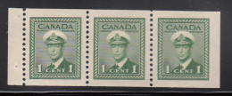 Canada MH Scott #249c Booklet Pane Of 3 1c George VI War Issue - Pages De Carnets