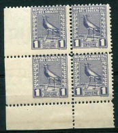 URUGUAY - BIRDS Sc # 318 Block Of 4 Imperforated On The Left MH & MNH VF - Uruguay
