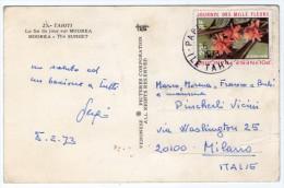 POLYNESIE FRANCAISE - LA FIN DU JOUR SUR MOOREA / THEMATIC STAMP-FLOWERS - Polinesia Francese