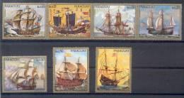 PINTURAS DE NAVES ANTIGUAS DE GUERRA  COMPLETE SET PARAGUAY BOOTE SCHIFFE NAVIO BARCO SHIP SHIPS BARCHE - Paraguay