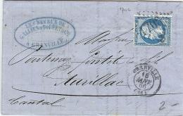 LMM13 -   NAPOLEON III 20c  SUR LETTRE COMMERCIALE GRANVILLE / AURILLAC 16/1/1866 - 1862 Napoléon III