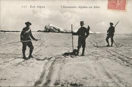 Chasseurs Alpins En Skis                             -- Fournier 117 (papier Brillant) - Régiments