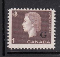 Canada MNH Scott #O46 G Overprint On 1c Elizabeth II Cameo Issue - Overprinted