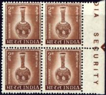 ARTIFACTS-HANDICRAFTS-BRASS POT-BIDRIWARE-ERROR-BLOCK OF 4-INDIA-MNH-E7-154 - Autres