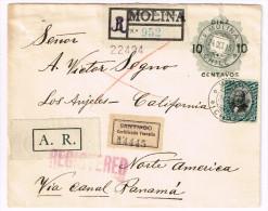 Chile Reg. Cover Scott #108 AR Santiago Label Molina 2 Oct 1915 Via Canal Panama to USA B/S SF LA USA on 10c Ovp PS Fine