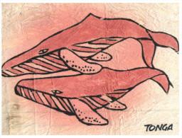 (333) Tonga Tapa Cloth From Mulberry Tree, Whale Postcard+ 2 Tonga Stamps At Back Of Postcard - Tonga