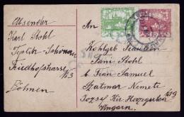 A3199) Czechoslovakia Karte Von Teplitz-Schönau 1919 Mit Verzähnung - Briefe U. Dokumente