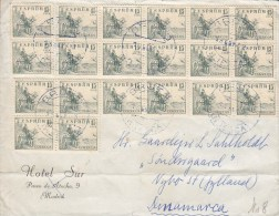 Spain HOTEL SUR MADRID Cachet BROTO 1953? Cover Letra To NYBO ST. (Jutland) Denmark (2 Scans) - 1951-60 Briefe U. Dokumente