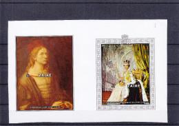 peinture - D�rer - Elisabeth II - Za�re - bloc 28 et 29 ** - MNH - essai de couleur de 1978 -