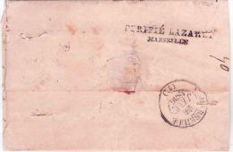 """1835- lettre de SMYRNE pour Marseille - """" Pays d'Outremer """" + cad C12 - TAXE 2 locale +PURIFIE LAZARET /MARSEILLE"""