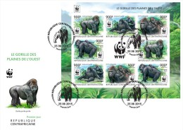 IMPERF. Central Africa 2015 - WWF Gorilla M/S 3x3, FDC - Gorilles