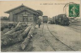 12 Clery Gare Des Tramways Train Beau Plan Edit Passot Timbrée Mareau Aux Prés 1913 Grumes Transport Bois - France